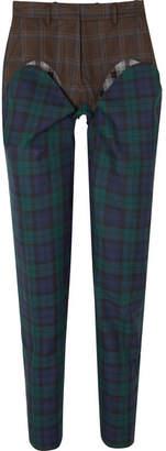 Y/Project Paneled Plaid Wool-twill Straight-leg Pants - Emerald