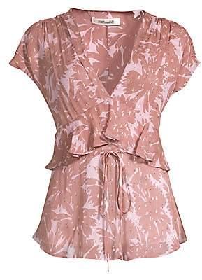Diane von Furstenberg Women's Millie Silk-Blend Daisy Print Peplum Top