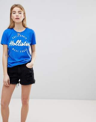 Hollister High Waist Girlfriend Denim Short With Raw Hem And Abrasions