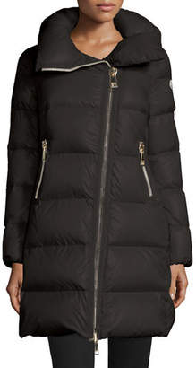 Moncler Joinville Long Asymmetric Puffer Jacket $1,520 thestylecure.com