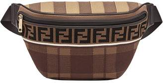 Fendi logo tartan belt bag