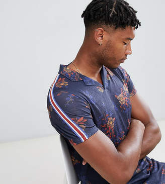Asos Design DESIGN Tall longline polo in linen look all over floral print with taping