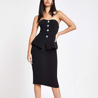 River Island Black peplum midi bodycon dress