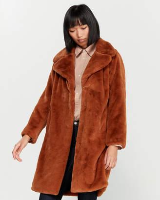 AVEC LES FILLES Faux Fur Oversized Coat