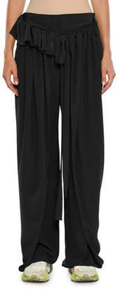 Stella McCartney Apron-Front Wide-Leg Silk Crepe De Chine Pants