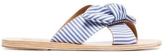 Ancient Greek Sandals blue and white Thais cotton striped bow sandals