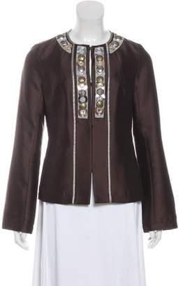 Tory Burch Wool & Silk-Blend Embellished Blazer