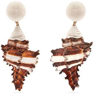 Ophelia REBECCA DE RAVENEL shell and gold-plated clip-on earrings
