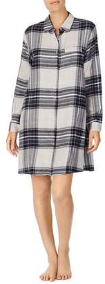 Donna Karan Long-Sleeve Short Plaid Sleepshirt