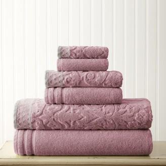 Pacific Coast Textiles 6 Piece Jacquard Towel With Jacquard Border
