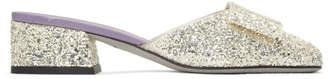 Victoria Beckham Silver Glitter Harper Slippers