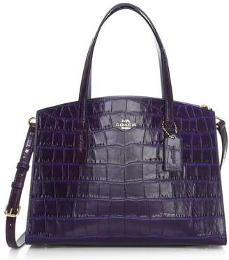 Coach Charlie Crocodile-Embossed Leather Satchel