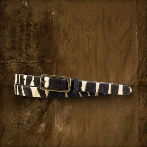 Denim & Supply Ralph Lauren Zebra-Print Haircalf Belt