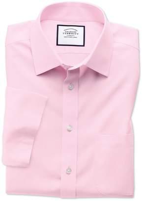 Charles Tyrwhitt Classic Fit Non-Iron Poplin Short Sleeve Pink Cotton Dress Shirt Size 15.5/Short