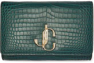 Jimmy Choo Varenne Croc-effect Leather Clutch - Green