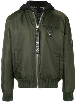 Philipp Plein hooded zipped bomber jacket