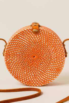 francesca's Pura Round Rattan Crossbody in Orange - Orange