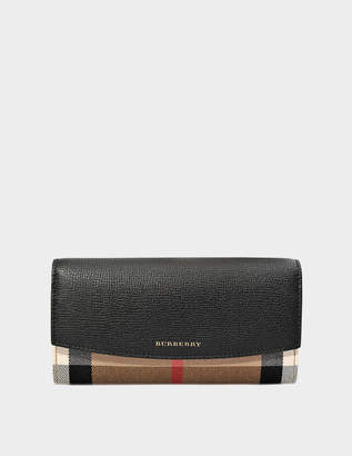 Burberry House Check Porter Flap Wallet in Black Grained Calfskin