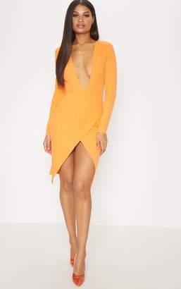 PrettyLittleThing Tangerine Bandage Plunge Long Sleeve Wrap Over Midi Dress
