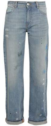 ALEXACHUNG Painted Distressed High-rise Straight-leg Jeans