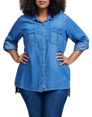Seven7 Women's Plus Size Lace Back Chambray Shirt