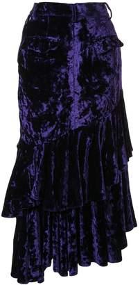 Facetasm denim and velvet skirt