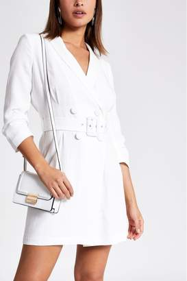 River Island Womens White Calais Summer Tuxedo Dress - White