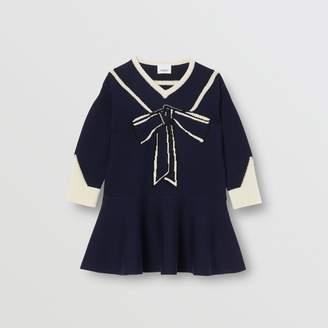 Burberry Childrens Trompe L'Oeil Intarsia Wool Cashmere Dress