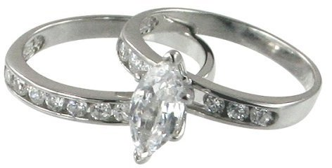 Sterling Silver Double Wedding Band Set with Marquise-cut Cubic Zirconia - Size 8