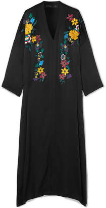 Etro Embroidered Hammered Silk-blend Maxi Dress - Black