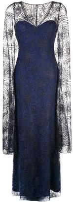 Tadashi Shoji sheer cape evening dress