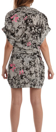 Preen Printed Rib Dress in Grey/Black