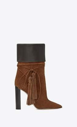 Saint Laurent Tanger 105 Tasseled Ankle Boots In Caramel Suede And Brown Leather