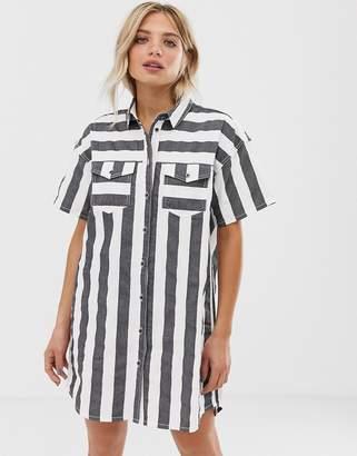 Dr. Denim button through stripe shirt dress