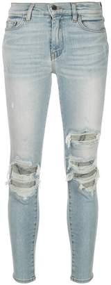Amiri ripped detail skinny jeans