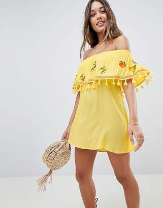 Asos Fruit Embroidered Bandeau Beach Dress