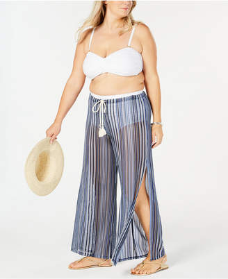 Becca Plus Size Striped Sheer Cover-Up Pants