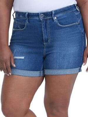 Melissa McCarthy Plus Rolled Cuff Denim Shorts