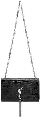 Saint Laurent Black Croc Medium Tassel Kate Chain Bag
