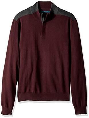 Perry Ellis Men's Colorblock Quarter Zip Sweater