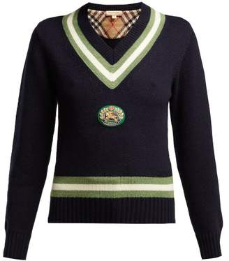 Burberry Morice Knight Applique Wool Blend Sweater - Womens - Navy Multi