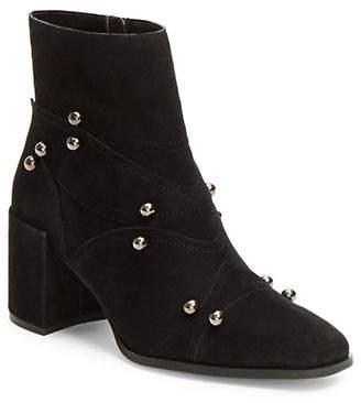 Isaac Mizrahi IMNYC Studded Block Heel Leather Booties