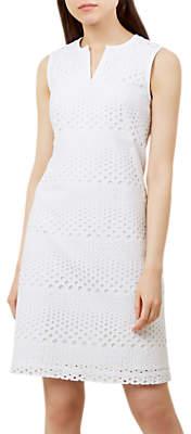 Hobbs Aurelia Broderie Anglaise Dress, White
