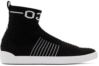 HUGO Black Knit Zero High-Top Sneakers