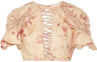 Zimmermann Corsair Flutter Open-back Crochet-trimmed Floral-print Linen Top - Beige