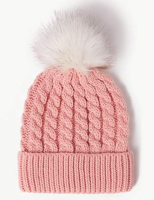 Marks and Spencer Faux Fur Bobble Beanie Hat