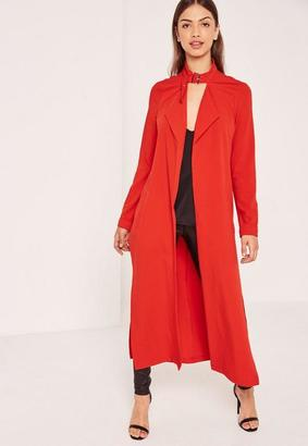 Red Premium Crepe Buckle Neck Waterfall Duster Coat $88 thestylecure.com