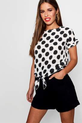 boohoo Petite Donna Oversized Spot Knot Front Woven Top