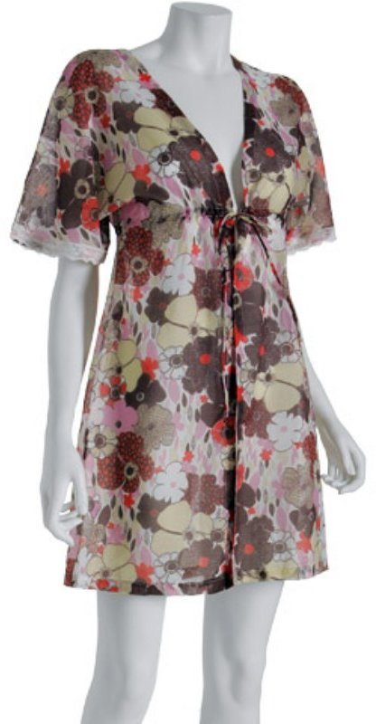 Eberjey light purple floral voile 'Amelie' drawstring robe