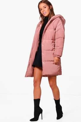 boohoo Petite Gracie Hooded Dip Back Padded Coat